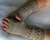 Oatmeal 100% Virgin Wool Crochet Fingerless Gloves