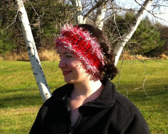 Fun Fur and Red Wool Earwarmer, Christmas Headband
