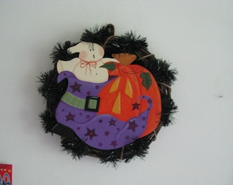 Halloween,  Wreath, grapevine, wall decor/door decor, ghost, pumpkin, witch's shoe