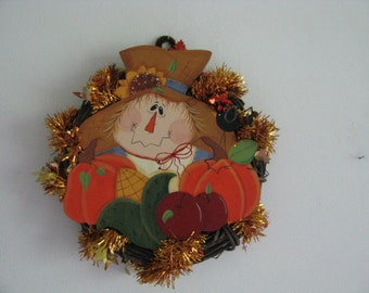Scarecrow on wreath with fall garland, fall, orange, pumpkins, handpainted