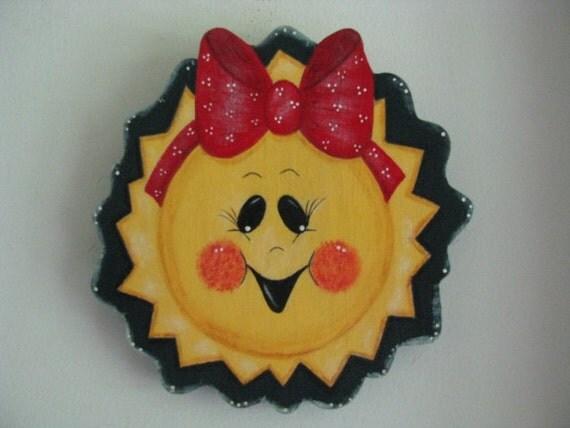 A Cute, Summer Sun, Wall Decor/decoration, plaque, handpainted