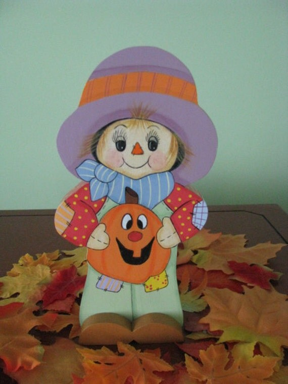 scarecrow, pumpkin, fall, halloween, handpainted