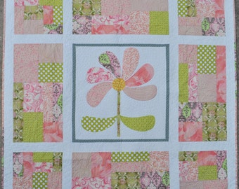 MEXICAN ROSE Original Quilt Pattern by PDF with Quilting Motif
