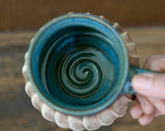 Beachcomber Nautical Coffee Mug-Rustic Ceramics-Spiral Altered Pottery-Cozy Tea Mug