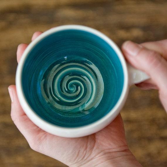 Ceramic Coffee Mug - Pink Mug - Teal Mug - Porcelain Mug