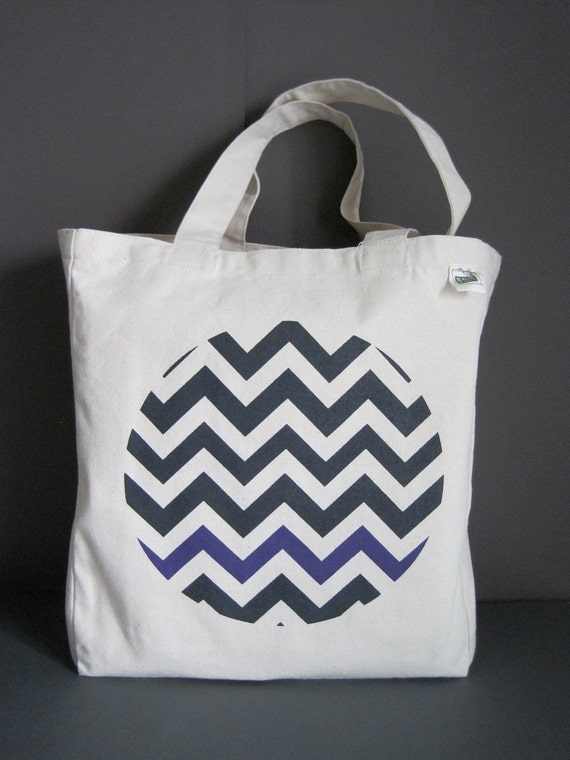 SALE - Recycled Cotton Canvas Wine Tote - Chevron
