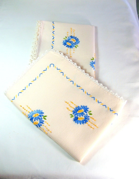 """RESERVED for MARY  Vintage Dresser Scarves Hand Embroidered  Set of Two  40"""" x 14"""""""