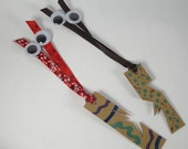 Hand Painted Monster Bookmarks Set I - Upcycled Paper, Ribbon & Goggle Eyes
