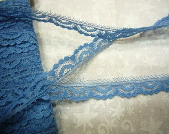 2 yards of 1/2 inch blue chantilly lace trim for housewares, home decor, crafts, bridal, baby, lingerie, hair acc by MarlenesAttic - Item BR
