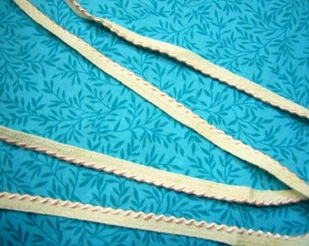1 Yard of 1/2 inch Vintage Ivory with Pink Braid Ribbon trim for sewing, crafts, costume design, valentines, romantic - Item DK