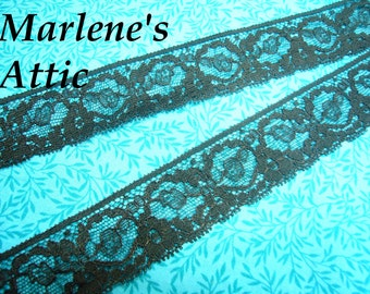 1 yard of 1 1/4 inch Black Chantilly Lace trim for gothic, steampunk, altered couture, lingerie by MarlenesAttic - Item FK