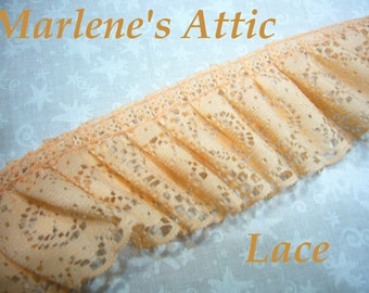 1 yard of 2 inch Peach Ruffled chantilly lace trim for bridal, baby, lingerie, easter, crafts, home decor by MarlenesAttic - Item FQ