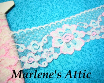 1 yard of 2 1/2 inch Pink and White Chantilly Lace trim for valentines, spring, bridal, baby, lingerie, hair acc by MarlenesAttic - Item HD
