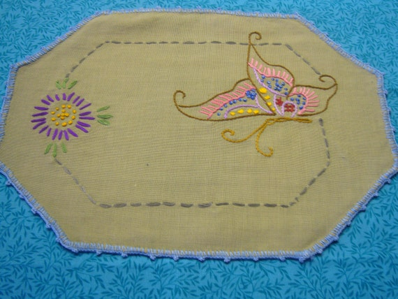 Vintage embroidered butterfly doily for housewares, table, hanky, home decor, candles, vases, flowers by MarlenesAttic