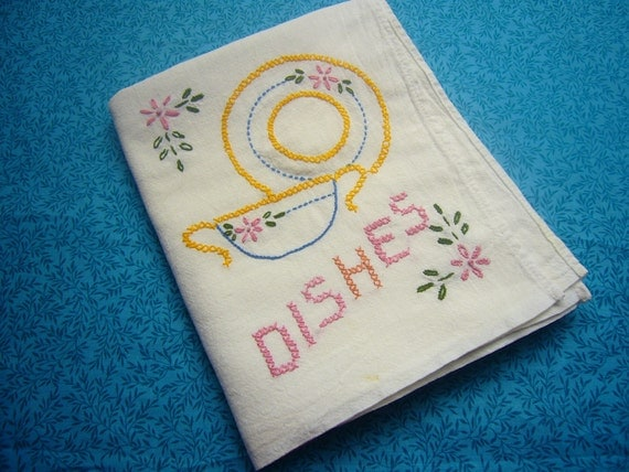 "Flour sack embroidered ""Dishes"" kitchen dish towel for housewares, crafts, sewing project, home decor, cleaning by MarlenesAttic"