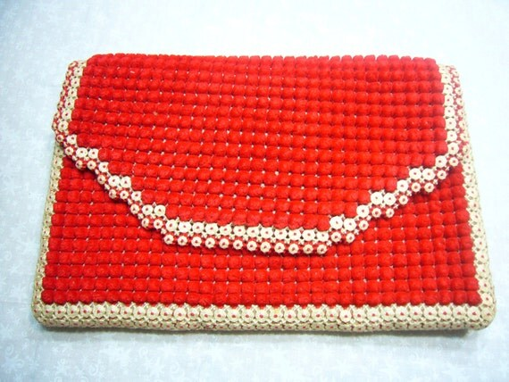 Vintage square red and ivory hand crochet clutch purse bag by MarlenesAttic