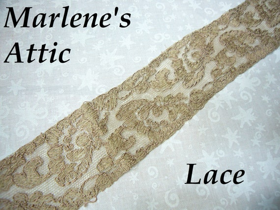 1 yard, 16 inches of 1 1/2 inch Vintage Brown Chantilly Lace trim for bridal, baby, altered couture, lingerie by MarlenesAttic - Item HW
