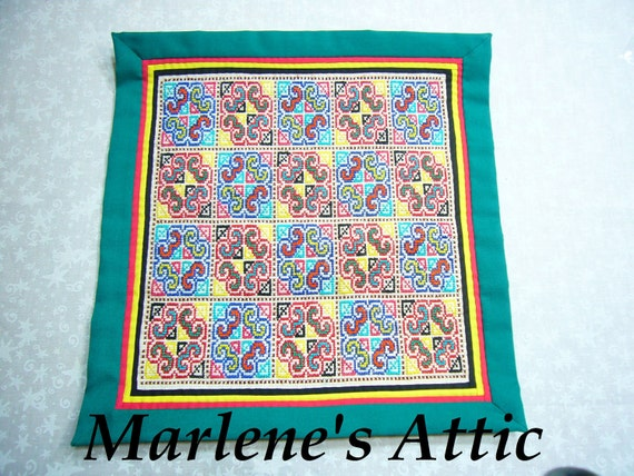 Vintage Green Embroidered Tapestry Wall Hanging quilt for home decor, housewares, home design, by MarlenesAttic