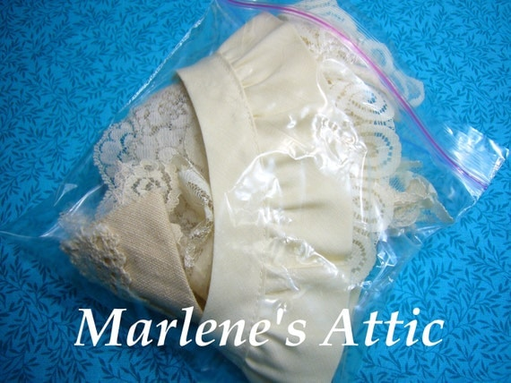 One Goodie Grab bag of ivory lace for crafts, sewing, couture, costume, trim, bridal, baby by MarlenesAttic