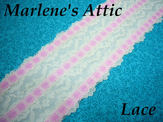 1 yard of  4 inch White and Pink Chantilly Galloon lace for bridal, wedding, garter, baby, lingerie, hair acc by MarlenesAttic - Item JO