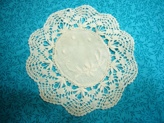 Vintage 5 inch round Hand crochet white doily for housewares, home decor, pillows, sewing, crafts, shabby chic, bags by MarlenesAttic