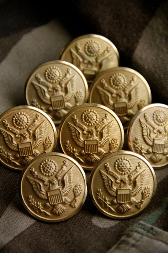 Brass Army Buttons, Waterbury Button Co, WWII, COMPLETE Set of 8