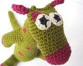 Crocheted Dinosaur Toy, Green Dino Softie, Baby T-Rex