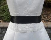 Simple Satin 2 inch Wedding Dress Sash in Black READY TO SHIP