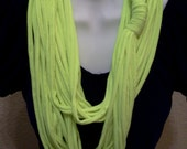 Recycled Neon Yellow T Shirt Necklace Infinity Eternity Shredded