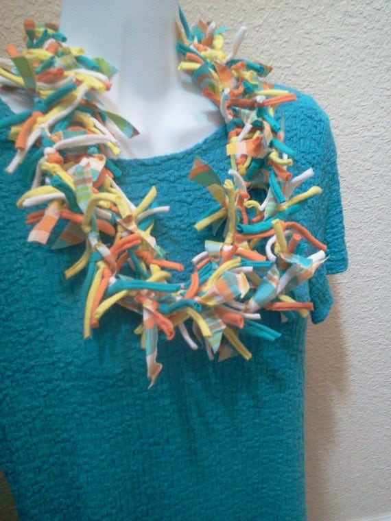 Recycled T Shirt Necklace Shabby Chic