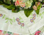 2 Vintage Pillowcases - Embroidered Pansies - Vtg 30's Handmade Linens - Cottage Chic Pillow Cases