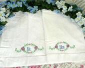 Vintage Pillowcases - 1930s MR & MRS Embroidered Pillow Cases - Vtg 30's Handmade Linens