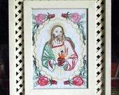 Vintage Embroidery Sacred Heart with Wood frame - Shabby Chic Framed Folk Art