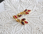 VIntage Trifari Red Earrings - Trifari Gold and Red Leaves
