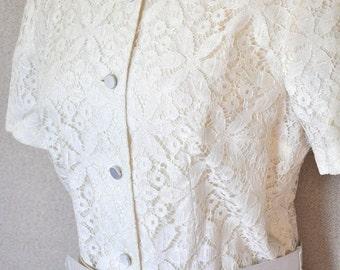 Vintage Lace Dress - White 1950's Dress