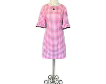 Vintage Pink Dress - Gingham Plaid Day Dress