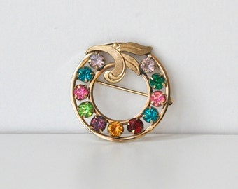 Multi-color vintage Van Dell 12k gold filled brooch
