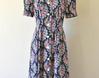 Vintage Leslie Fay Navy and Rose Floral Dress