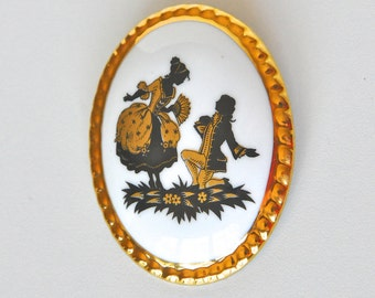 Vintage Countess China Rococo Silhouette Brooch