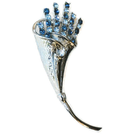 Vintage Coro Brooch - Silver and Blue Flower Bouquet