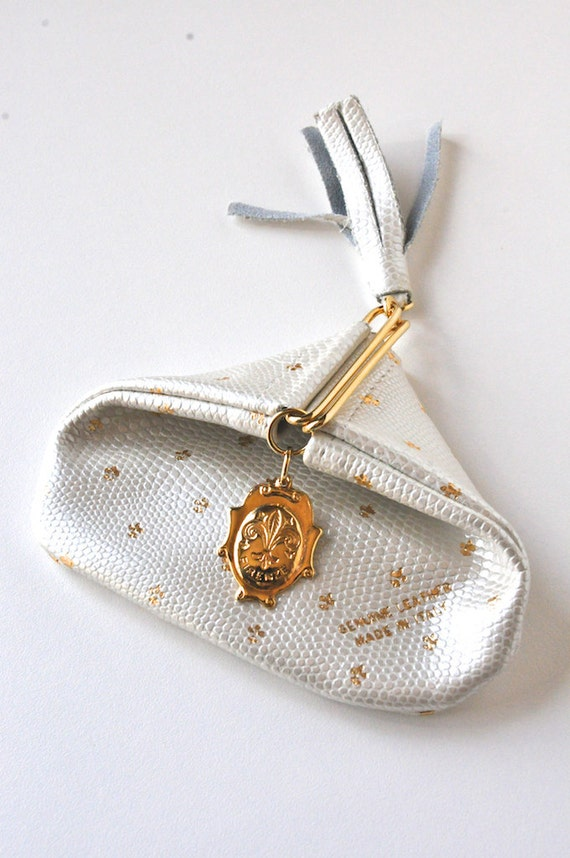 Vintage Italian Leather Folding Coin Purse - Pearl White
