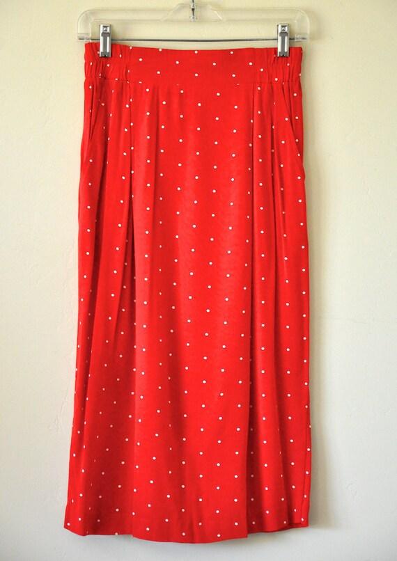 Vintage Red Polka Dot Secretary Skirt