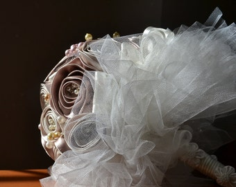 Wedding Bouquet Cream and Pink satin with Pearls REDUCED
