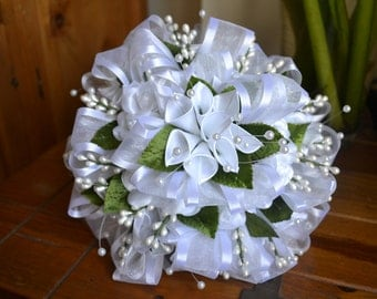 Wedding Bouquet White with Faux Leaves and Pearls