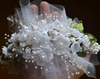 Wedding Bridal Headpiece White Satin Flowers Pearls Crown Head Piece