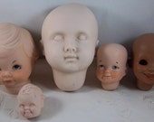 5 Bisque Porcelain Doll Heads for Doll Making - Doll Parts -  3 Marked