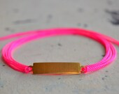 Neon Pink Wrap Bracelet with Vintage Brass ID Tag - Flourescent