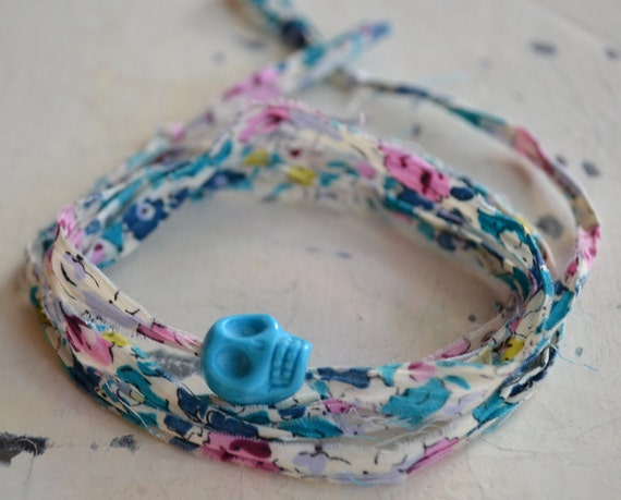 Gifts 25 & Under - Liberty of London fabric  Wrap Bracelet with Turquoise Howlite Skull