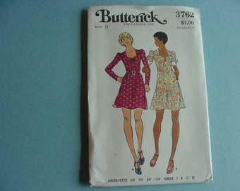 1970s Butterick 3762 Junior Semi-Fitted A-Line Dress Sweetheart Neckline Size 11 Bust 33 1/2 UNCUT