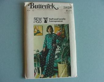 1970s Butterick Pattern 3828  Misses' Top & Pants Loungewear  Size 10  Bust 32 1/2 Uncut